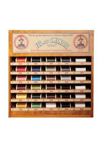 Fil Au Chinois thread display with 30 linen thread spools - 30m