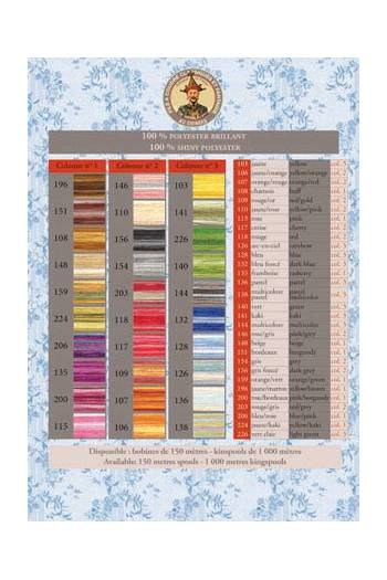 Glossy variegated thread printed colour chart