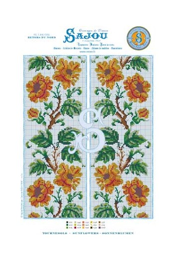 Cross stitch pattern chart reedition flower motif Sunflowers