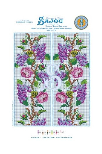 Cross stitch chart Vineyards and Roses