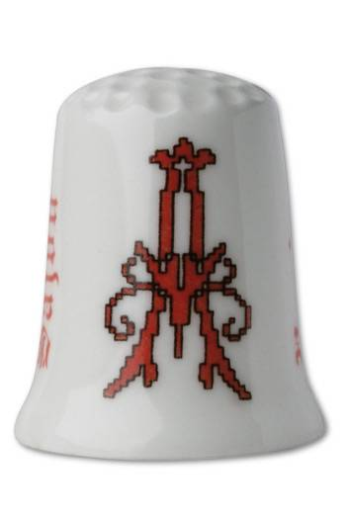 Dé porcelaine Point de croix rougeLettre A