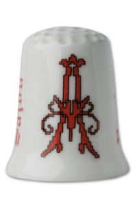 Collectors thimble imitating red crosstich  Letter A