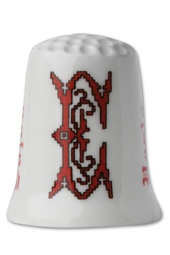 Porzellan-Fingerhut Buchstabe E