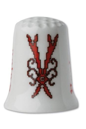 White porcelain thimble Letter V