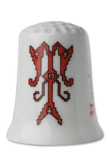 Dé porcelaine Point de croix rougeLettre T