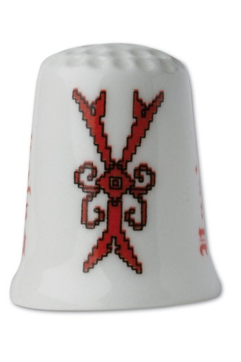 Collectors thimble imitating red crosstich Letter Y