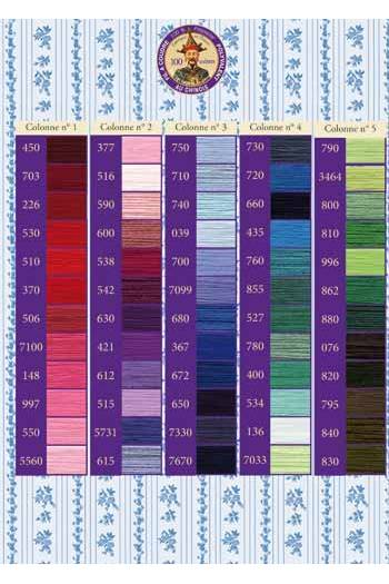 Printed colour chart Polyvalent thread