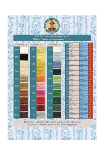 Gloving thread printed colour chart