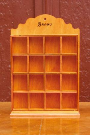 Wooden shelf for collector thimbles