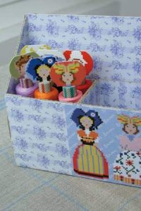 Storage box for costumed thread reels