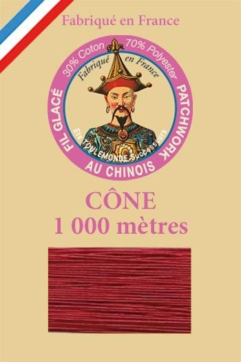 Patchwork thread 1000m cone n°535 - Dark Red