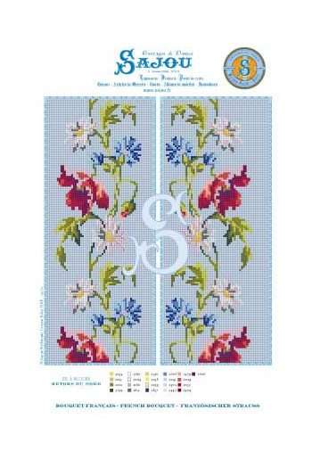 Cross stitch pattern chart reedition flower motif French Bouquet