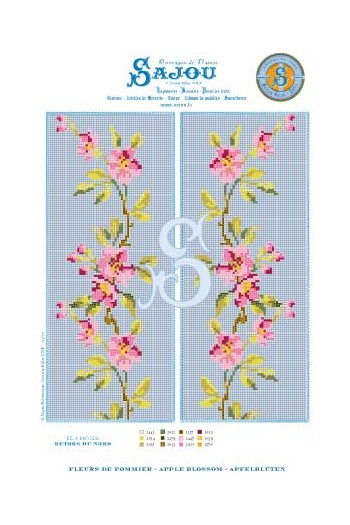 Cross stitch pattern chart reedition flower motif Apple Blossom