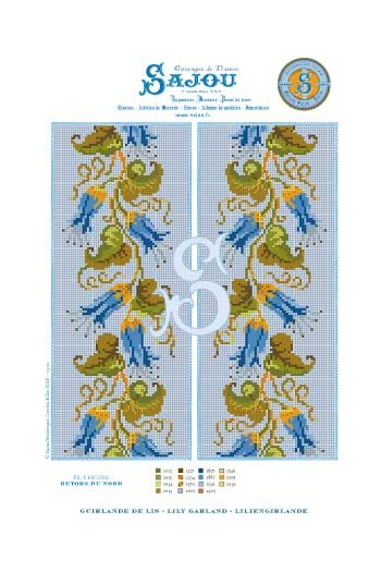 Cross stitch pattern chart reedition flower motif Lily Garland