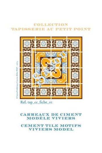 Basketweawe tapestry pattern chart: cement tile Viviers model