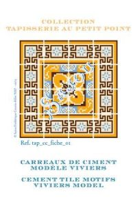 Basketweave tapestry pattern chart: cement tile Viviers model