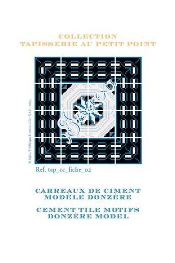 Basketweawe tapestry pattern chart: cement tile Donzère model