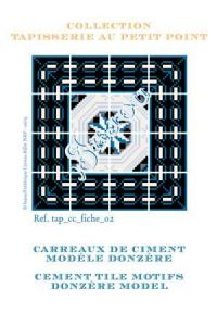 Basketweave tapestry pattern chart: cement tile Donzère model