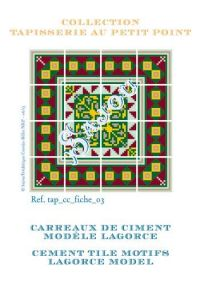 Basketweave tapestry pattern chart: cement tile Lagorce model