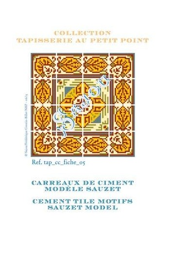 Basketweawe tapestry pattern chart: cement tile Sauzet model