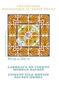 Basketweave tapestry pattern chart: cement tile Sauzet model