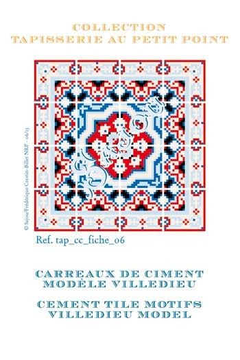 Basketweawe tapestry pattern chart: cement tile Villedieu model