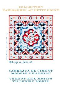 Basketweave tapestry pattern chart: cement tile Villedieu model