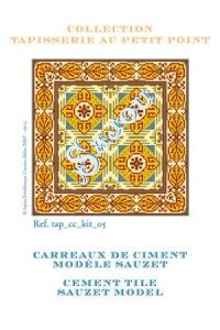 Basketweawe tapestry kit: cement tile Sauzet model