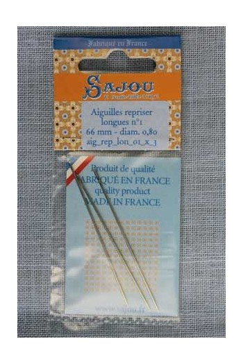 Long darning needles n°1 - length 66 mm diametre 0,80 mm