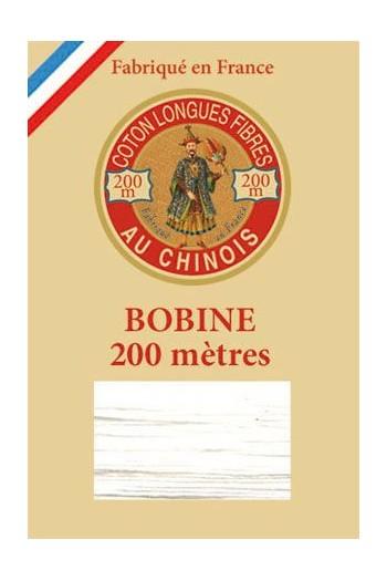 Fil de coton d'Égypte Coloris 6100 - Blanc bobine bois 200 m