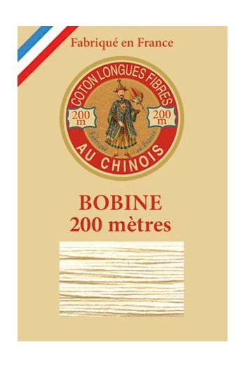 Fil de coton d'Égypte Coloris 6308 - Crème bobine bois 200 m