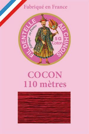 Coloured lace cotton thread Calais Cocoon n° 6535 - Burgundy