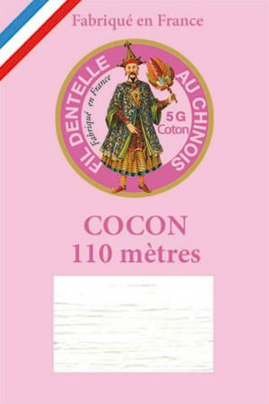Coloured lace cotton thread Calais Cocoon n° 6100 - White