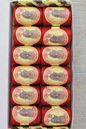 12 lace thread Calais cocoons box 6534 - Red