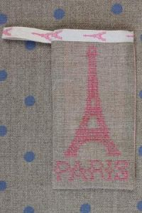 Cross stitch embroidery kit - Eiffel tower case pink