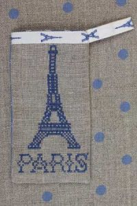 Cross stitch embroidery kit - Eiffel tower case blue