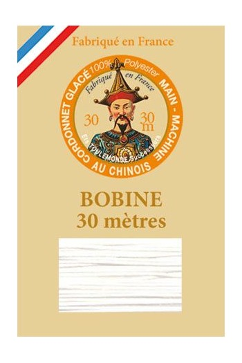 Waxed polyester thick Cordonnet thread - Col. 100 - White