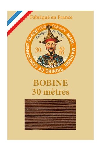 Waxed polyester thick Cordonnet thread - Col. 215 - Brown
