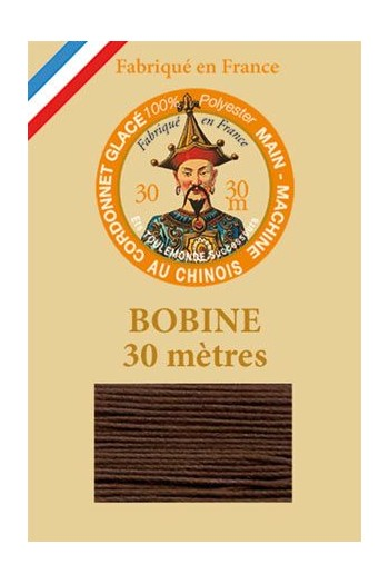 Waxed polyester thick Cordonnet thread - Col. 210 - Coffee