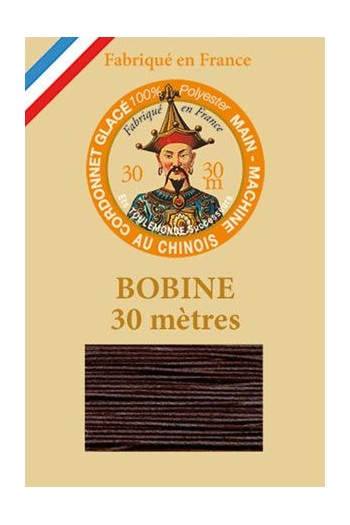 Waxed polyester thick Cordonnet thread - Col. 202 - Chocolate