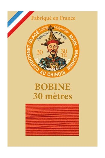 Waxed polyester thick Cordonnet thread - Col. 380 - Orange
