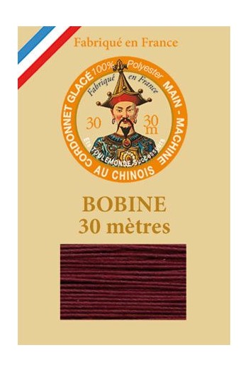 Waxed polyester thick Cordonnet thread - Col. 453 - Burgundy