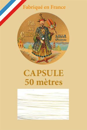 Waxed linen thread size 40 50m capsule - Col. 100 - White