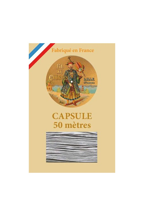 Waxed Linen thread size 40 - 50m capsule Col. 115 - Pale Grey