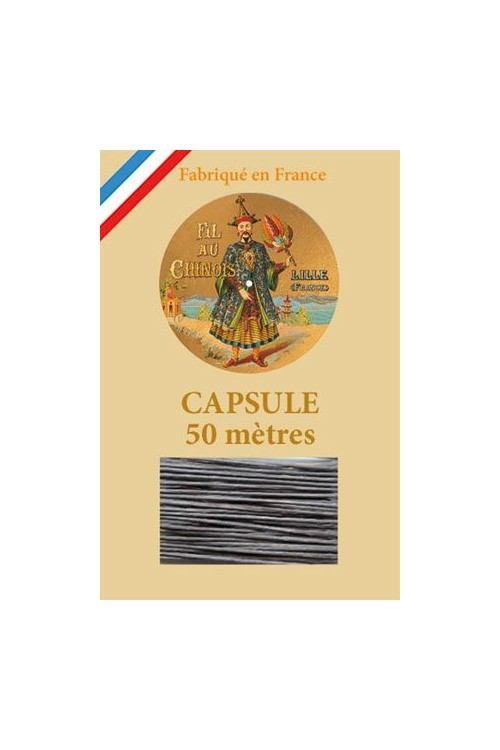 Waxed Linen thread size 40 - 50m capsule Col.155 - Dark Grey