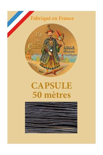 Waxed Linen thread size 40 - 50m capsule Col.174 - Very Dark Grey
