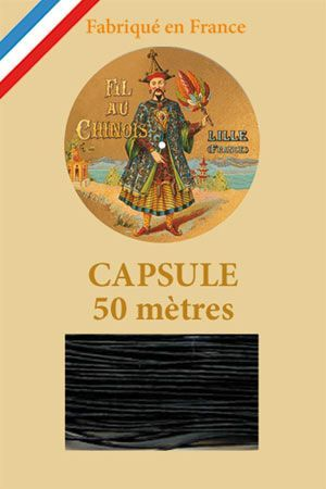 Waxed linen thread size 40 50m capsule - Col. 180 – Black