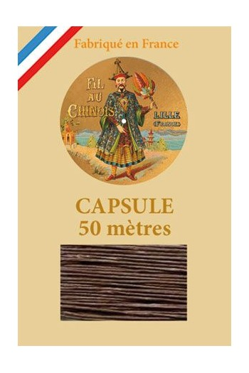 Waxed Linen thread size 40 - 50m capsule Col.195 - Dark Brown