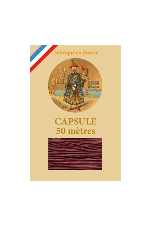 Waxed Linen thread size 40 - 50m capsule Col. 470 - Dark Red