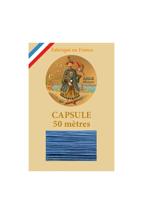 Waxed Linen thread size 40 - 50 m capsule Col.735 - Turquoise